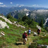 Three people hiking in the Alpine Squamish