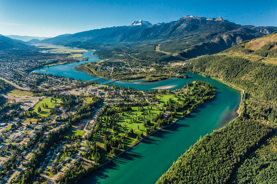 Aerial shot of Revelstoke BC