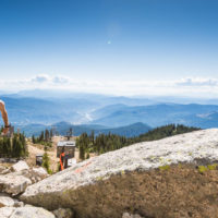 Man hiking in trail BC