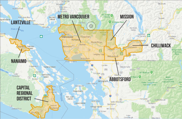 Map of Kelowna where the speculation tax is